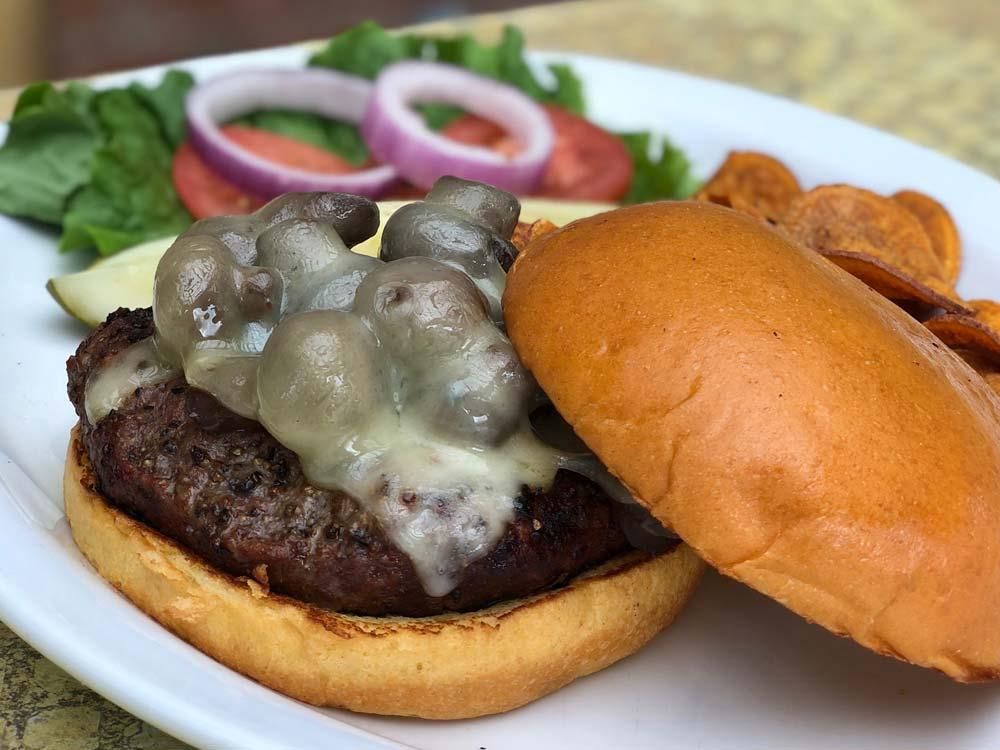 Mushroom & Swiss Burger | Best Burgers | Restaurants Allen, TX | TwoRows Classic Grill