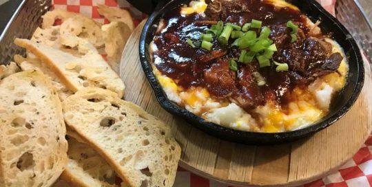 BBQ Pork Skillet   Appetizers   Restaurants Allen, TX   TwoRows Classic Grill