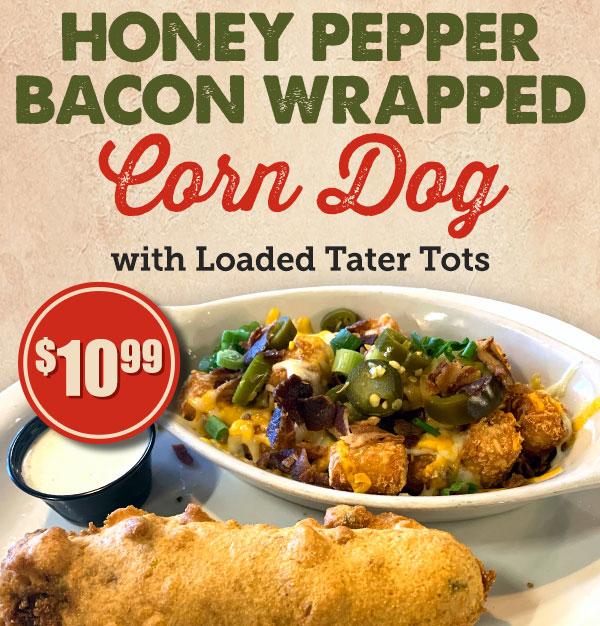 Honey Pepper Bacon Wrapped Corn Dog Special